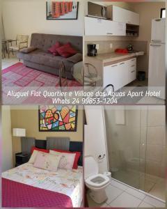 Cama ou camas em um quarto em Flats no Aldeia das Águas