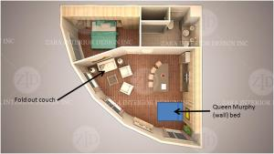 The floor plan of Around the Sea - Cana da's Rotating House, Suites & Tours