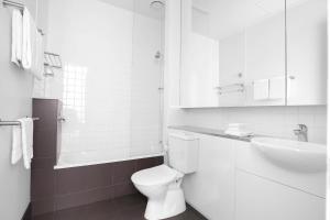 A bathroom at Mantra 100 Exhibition
