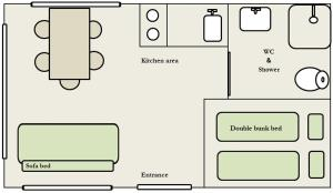 The floor plan of Lambhus Glacier View Cabins