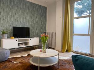 A television and/or entertainment center at Maison de ville de 55m2 refait à neuf