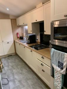 A kitchen or kitchenette at Luxury riverside lodge