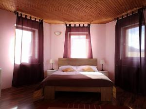 A bed or beds in a room at Penzión Pegas