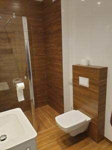 A bathroom at Apartament w zieleni do wynajęcia blisko jeziora