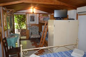 A television and/or entertainment center at B&B Il Giardino Segreto
