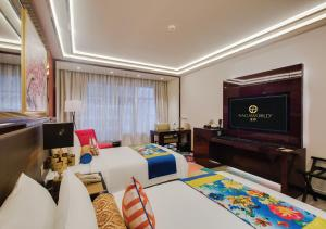 A television and/or entertainment center at NagaWorld Hotel & Entertainment Complex