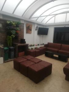 A seating area at Destino Nomada