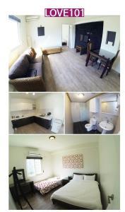 A bed or beds in a room at Karis Pool Villa On Saipan