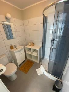 A bathroom at APARTAMENT OŚ. BŁĘKITNE 10H