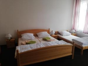 Postel nebo postele na pokoji v ubytování Penzion Pancéř