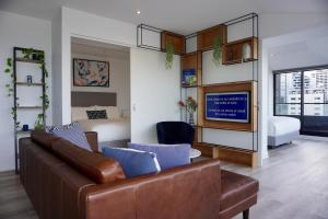 A seating area at Flinders Luxury Penthouse