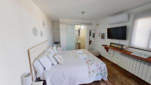 Una televisión o centro de entretenimiento en Apartamentos Oncemolinos