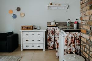 A kitchen or kitchenette at Dwór Złotopolska Dolina Mansion House