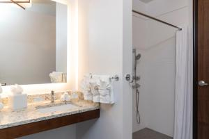 A bathroom at Homewood Suites by Hilton Indianapolis Downtown
