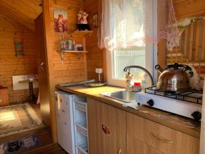 A kitchen or kitchenette at Wooden house