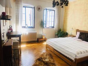 Postel nebo postele na pokoji v ubytování Kristínka