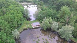 Letecký snímek ubytování La cabane du pont du Douet