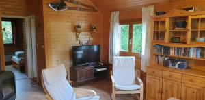 A television and/or entertainment center at Chalets les Silènes