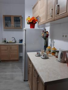 A kitchen or kitchenette at Mouria Hotel