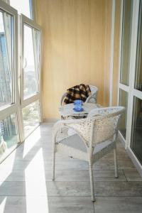 A bed or beds in a room at Studio Apartment with Fantastic view in Center