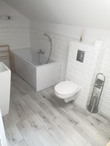 Koupelna v ubytování Apartament Świętojańska