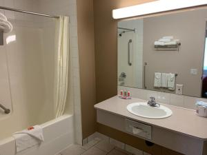A bathroom at Econo Lodge Inn and Suites Lethbridge