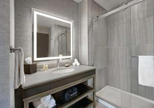 A bathroom at Embassy Suites By Hilton Rockford Riverfront