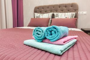 Кровать или кровати в номере Apartment na Chkalova 53A