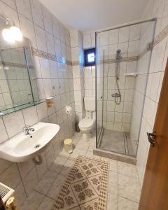 A bathroom at Pensiunea Sovirag