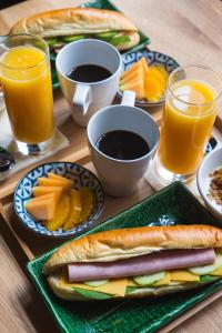 Breakfast options available to guests at Swanky Mint Hostel