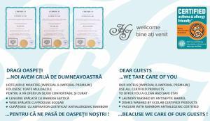 Un certificat, premiu, logo sau alt document afișat la Hotel Imperial Premium
