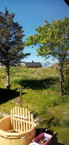 A garden outside Lofoten Apartment + Rooms - Skrova