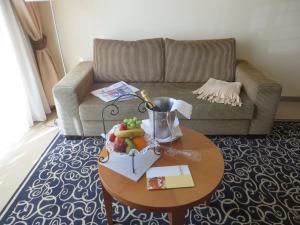 Ein Sitzbereich in der Unterkunft Ringhotel Bundschu