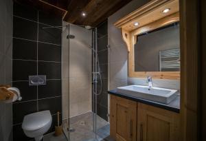 A bathroom at Gîte Balnéo Au Coeur des Alpes