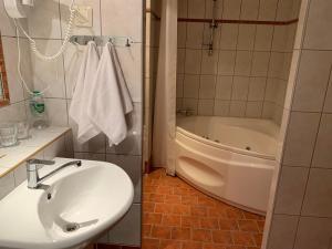 A bathroom at Hotel Druzhba