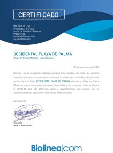 A certificate, award, sign, or other document on display at Occidental Playa de Palma