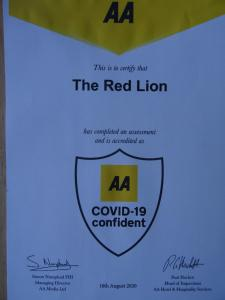 A certificate, award, sign, or other document on display at The Red Lion Hawkshaw
