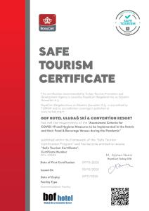 A certificate, award, sign, or other document on display at Bof Hotel Uludağ Ski & Convention Resort