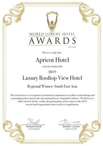 A certificate, award, sign or other document on display at Apricot Hotel