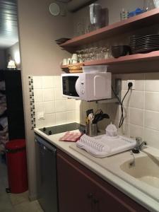 A kitchen or kitchenette at Hôtel et Appart'Hôtel Restaurant L'Adray