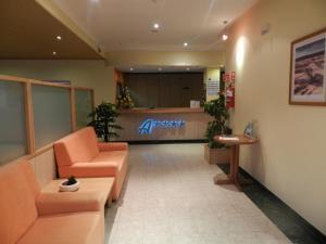 A área de receção ou átrio de Hotel Nossa Senhora da Saude