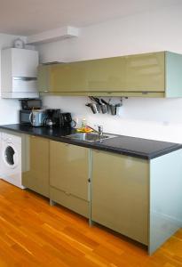 Kuchyň nebo kuchyňský kout v ubytování Delightful Duplex Danube Canal
