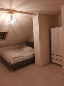 Un pat sau paturi într-o cameră la Pension Mellis Cluj Napoca