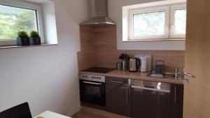 A kitchen or kitchenette at Niederdreisbacher Hütte - moderne Doppelzimmer - EINZELBETTEN -