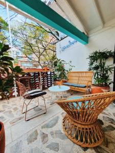 A porch or other outdoor area at La Playa Hostel & Rooftop
