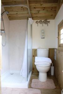 A bathroom at Harvest Moon Treehouse