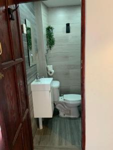 A bathroom at Island Life Hostel