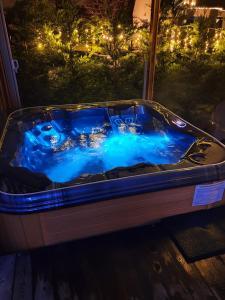 Vue sur la piscine de l'établissement LE COTTAGE BARBIZONNAIS avec jacuzzi privé à partir de 10 ans ou sur une piscine à proximité