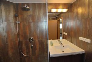 A bathroom at Arpad Bridge Apartments