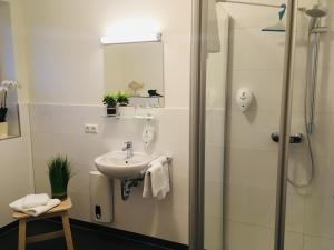 A bathroom at Pension Seecafé